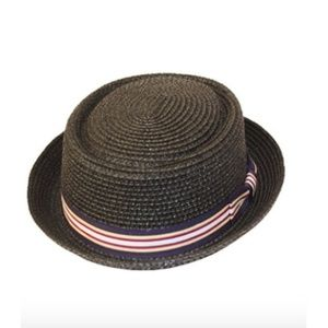Other - Men's Black Straw Hat with Ribbon Detail